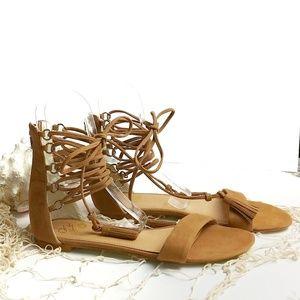 Colin Stuart Leather Gladiator Zippered Sandals